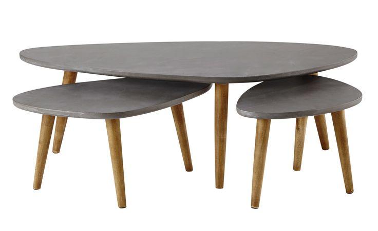 3 tables basses en bois grise L 50 à L 120 cm Cleveland