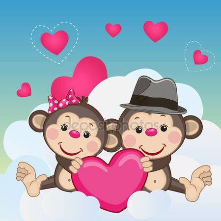 Descargar - Los amantes monos — Ilustración de stock #73367933