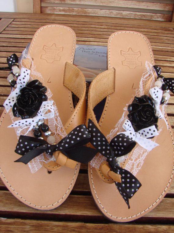 Genuine Greek Handmade Leather Black Sandals by ForThatSpecialDay