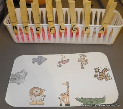 Clip the first letter sound onto the animal. Great for letter sound recognition and fine motor skills!