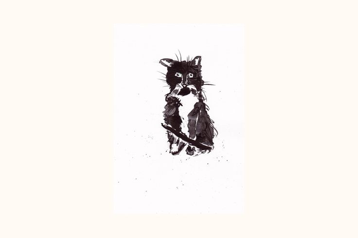 Confused Cat. Original scruffy black and white cat ink painting #cat #blackandwhitecat #funnycatart #catwallart #catlovers #catillustration #crazycat