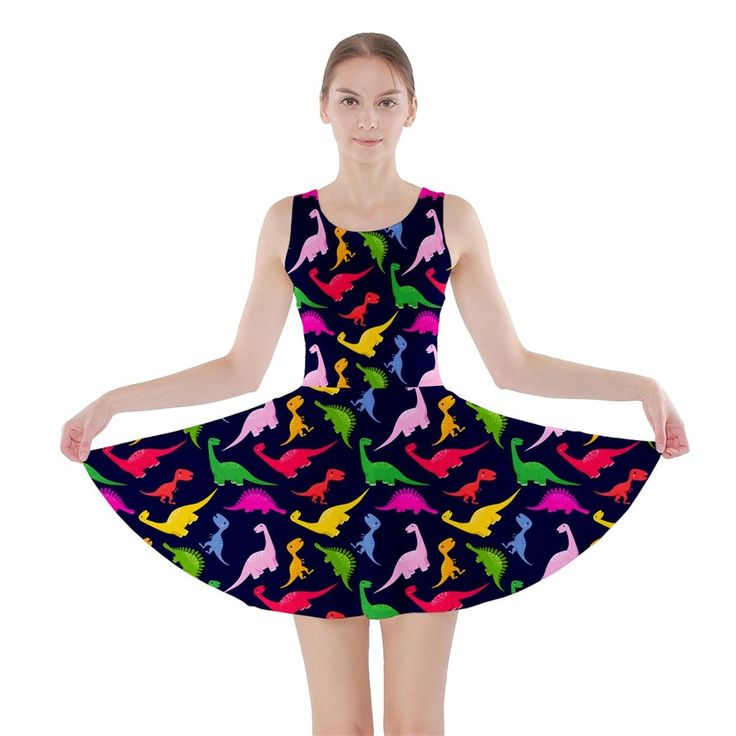 Colorful Dinosaurs Animal Pattern Women'S Skater Dress
