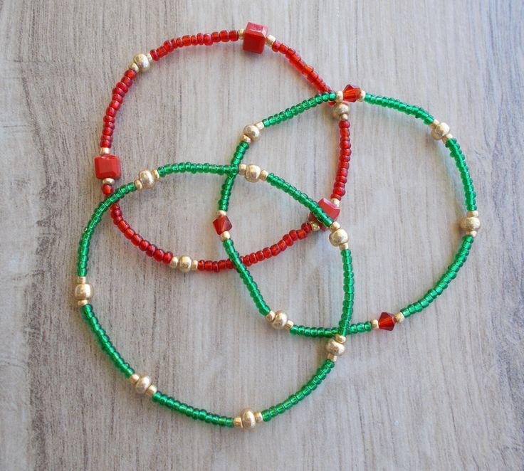 SALE 50% Stacking Bracelet Set, Green, Red, Gold Seed Beads Bracelets, Dainty Bracelets,Seed Beads Bracelets,Minimalist Bracelets, Christmas by BluePinkJewelry on Etsy