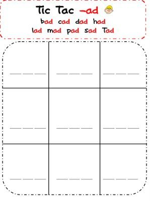 1000 images about word families on pinterest the words for Tic tac toe template for teachers