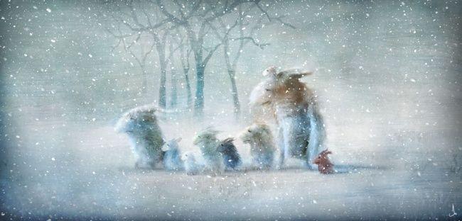 Скандинавские сказки Чудесный мир, созданный шведским художником Александра Янссона (Alexander Jansson). В нем живут трогательные человечки и животные, там есть карусели, передвижные дома и корабли-призраки, огромные коты и лисы со своими маленькими наездниками. Невозможно остаться равнодушным.