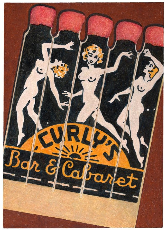 Curly's Bar & Cabaret, 2016 © Aaron Kasmin's illustrated matchbook, Courtesy of Sims Reed Gallery