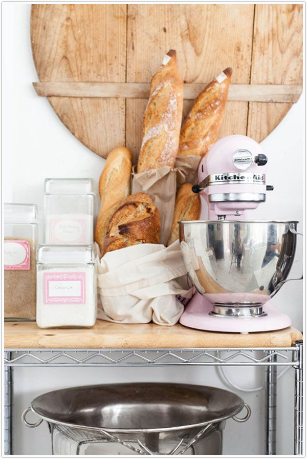 Check out our notes from the weekend!Kitchens Spaces, Kitchens Design, Kitchens Aid Mixer, June 2012, Pink Kitchenaid, Pink Kitchens, Baking, Baby Pink, White Wall