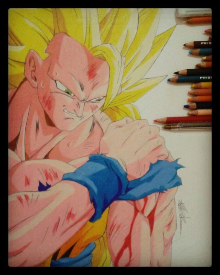 Prismacolor colored pencil drawing of goku ssj3. Follow me on instagram and Youtube: Francesco Baio.
