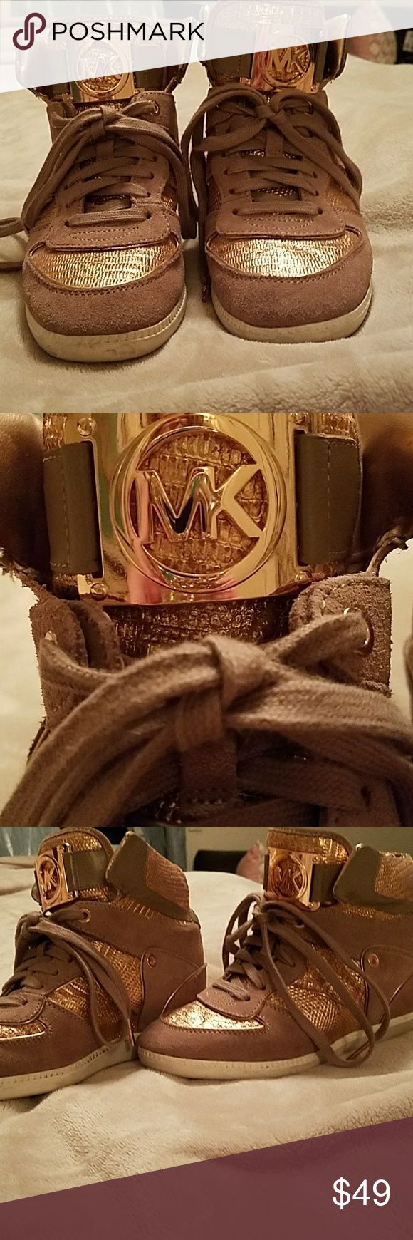 Michael Kors Rose Gold Wedge Sneakers Beautiful MK rose gold and taupe hidden wedge sneakers size 8 Michael Kors Shoes Sneakers