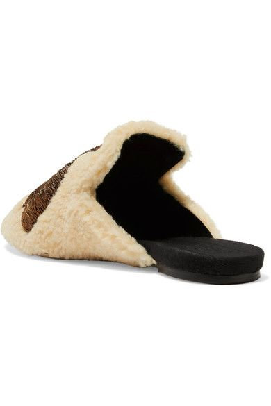 Sanayi313 - Ragno Embroidered Shearling Slippers - Neutral - IT