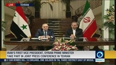 Iran's first vice president, Syrian prime minister take part in joint press conference in Tehran