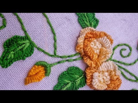 Hand Embroidery   Beautiful Cast on Fower Design   HandiWorks #67 - YouTube