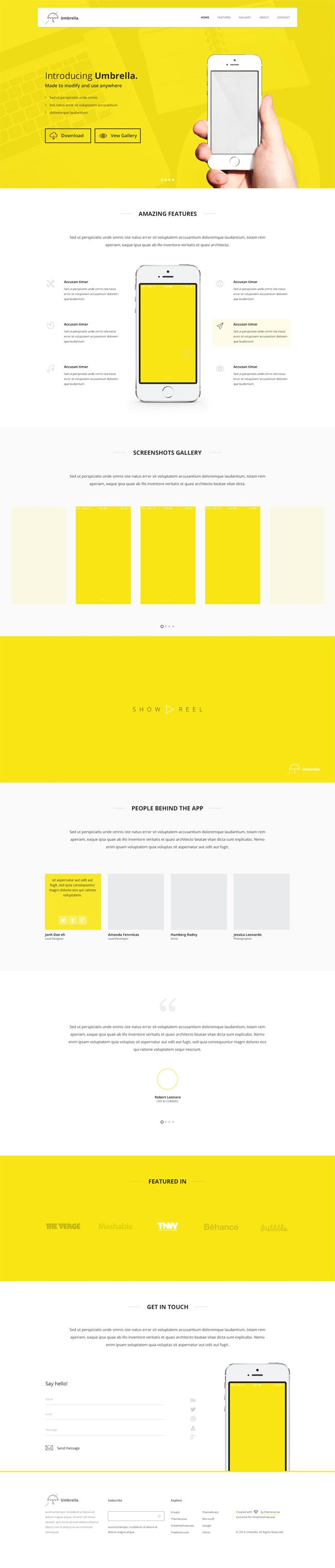 Umbrella - App Landing Page PSD Template