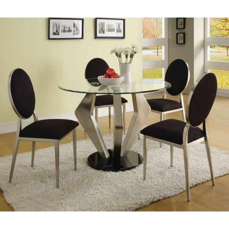Contemporary Design High Luxury Dinette Set | Acm Deluxe Turner Round Glass  Dining Room Design Set