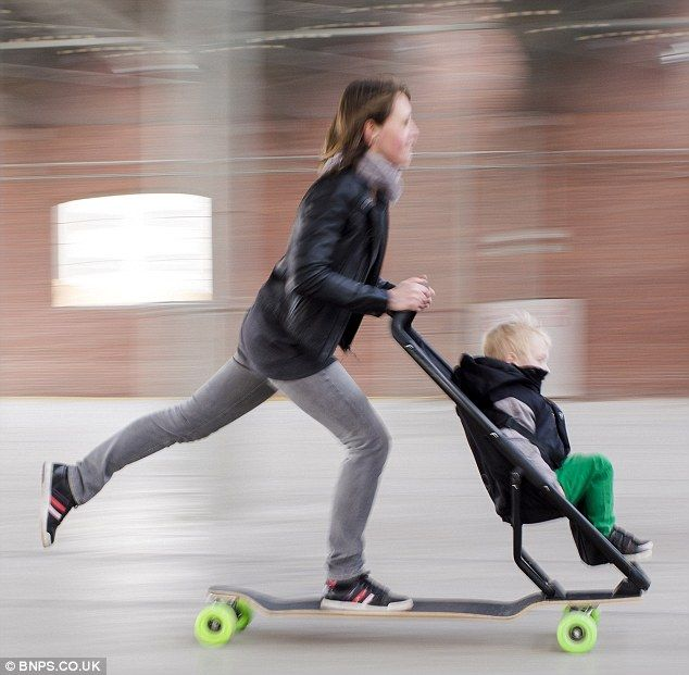 Longboardstroller is a whacky new invention in the form of baby stroller paired with a skateboard. A popular brand is currently testing the product which may find its way in the hands of adventurous parents. The stroller features a brake at the back and handlebars for steering. via dailymail.co.uk