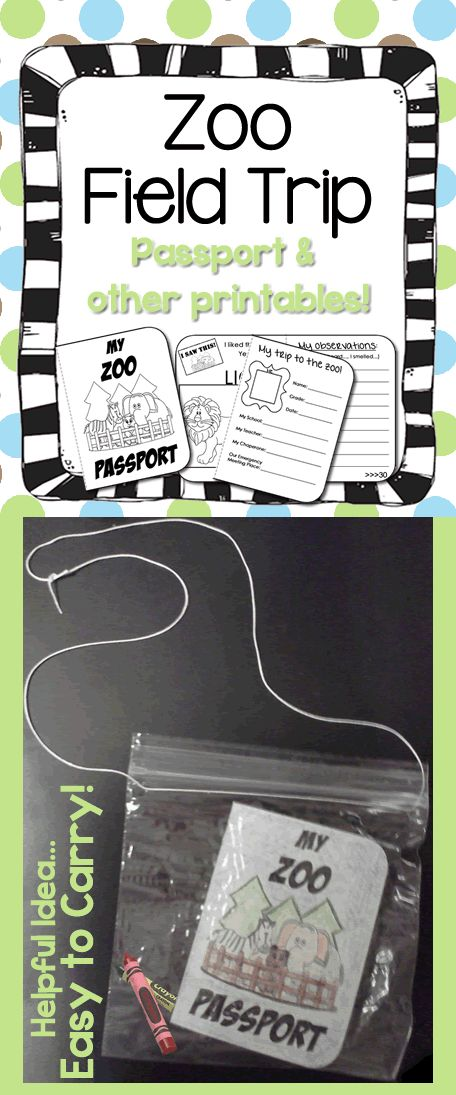 Zoo field trip bundle. Cute 32 page mini passport booklet plus many other printables. #education #printables
