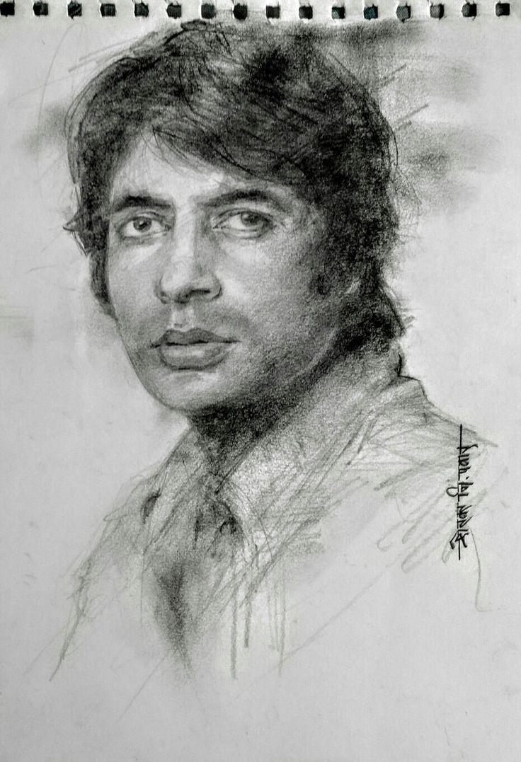 Amitabh Bachchan pencil sketch by Shekhar Nivrutti Pawar ...