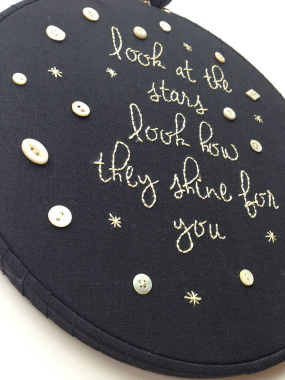 "coldplay ""yellow"" lyrics - hand embroidery typography - stars shine for you - hoop nursery art home decor"