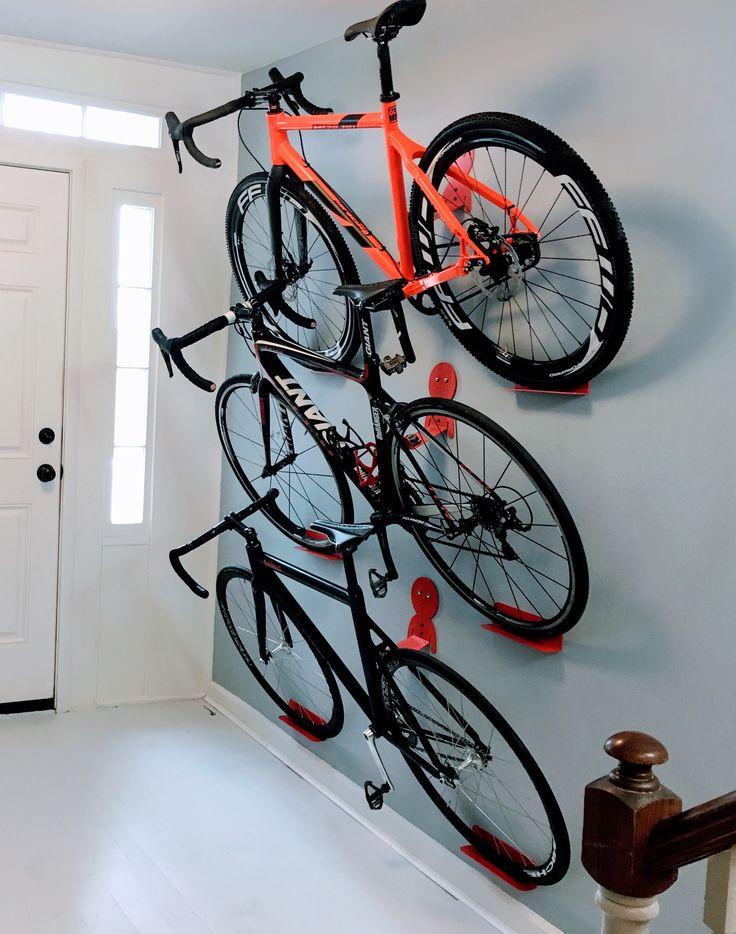 Multiple bikes hanging rack system. DaHANGER Dan pedal hook.