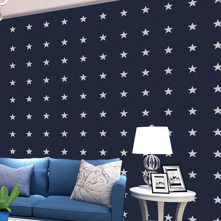 beibehang Room small fresh star 3D flocking wallpaper roll Papel de parede 3D mural wall paper roll 3d wallpaper walls behang