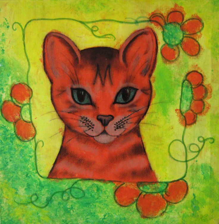 An acrylic painting I made of an orange Cat, because I really love Cats!
