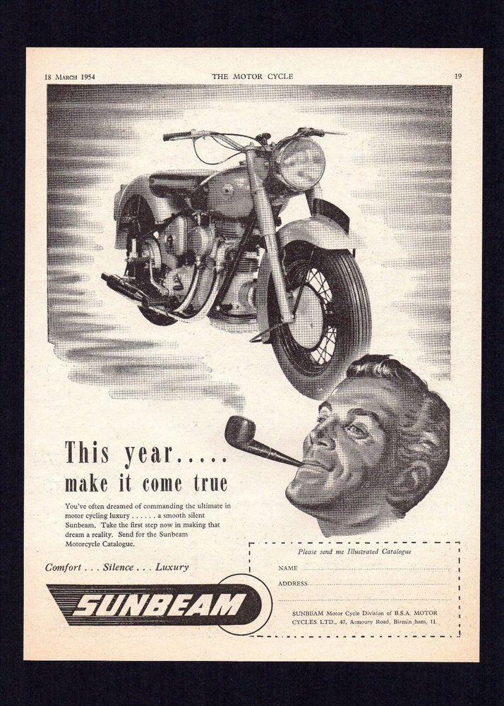 MARCH 1954 SUNBEAM S7 500 OHC TWIN MOTORCYCLE. MAGAZINE ADVERT.