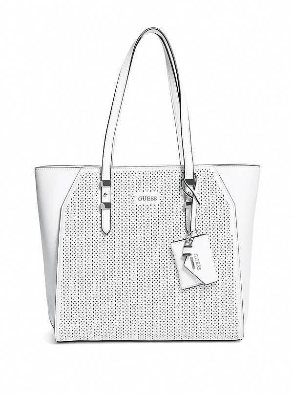 5e8022c9 NWT GUESS Gia Carryall Tote Shopper Handbag Purse Perforated White #GUESS  #TotesShoppers|handbags and purses|guess purses|purses and  handbags|designer ...