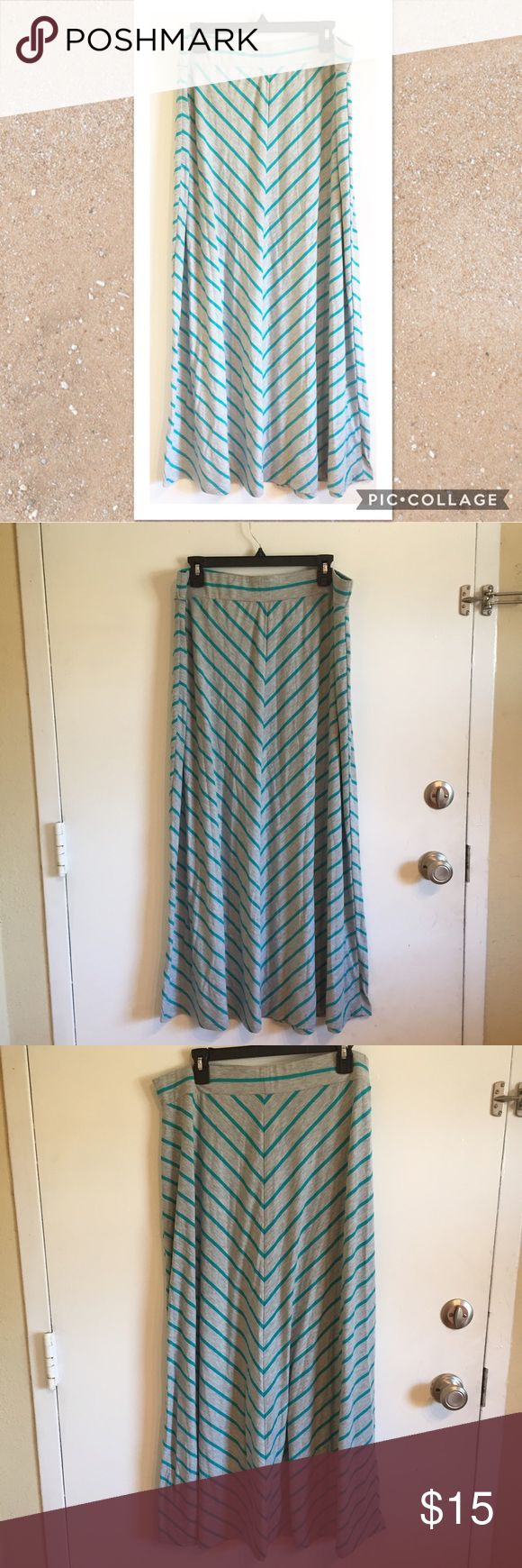 Plus Size Chevron Striped Maxi Skirt Plus Size Chevron striped Maxi skirt. Grey and Teal. Size 1x. Elastic waist. #plus #plussize #striped #chevron #maxi #skirt #springbreak #spring #summer #punkydoodle  No modeling Smoke free home  I do discount bundles Faded Glory Skirts Maxi