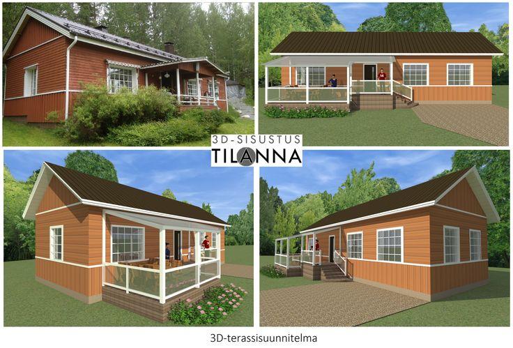 3D-terassisuunnittelma/ Vanhemman omakotitalon katetun terassin 3D-suunnitelma ja -mallinnus, terrace plan / 3D-sisustus Tilanna, sisustussuunnittelija Jyväskylä