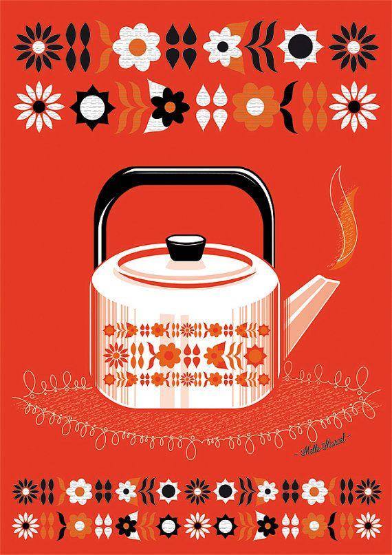 Modernist Kettle Print by @melle_marcel / clémentine, $18.00 #illustration #print #retro #kitsch #midcentury #kettle