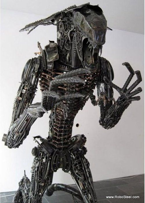 Alien Queen sculpture made from 1,200 lbs of Yamaha motorcycle steel from RoboSteel