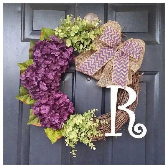 Artículos similares a Corona de la puerta, caída la puerta corona con hortensias, coronas, corona de hortensias púrpura, corona para la puerta en Etsy