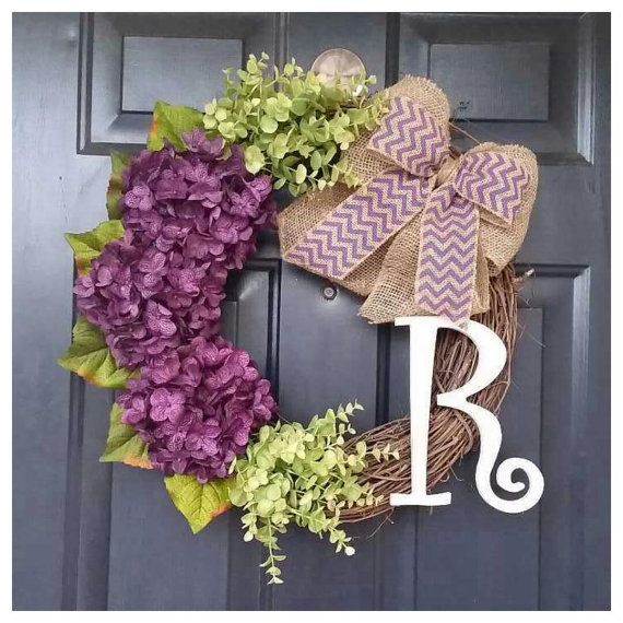 door wreath. monogram wreath spring wreath by AutumnWrenDesigns