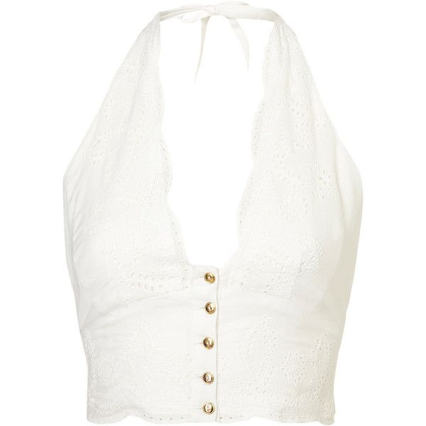 Broderie Cropped Halterneck Top (94 RON) ❤ liked on Polyvore featuring tops, shirts, crop tops, tank tops, white halter top, halter shirt, embroidered top, white crop top and white cotton tops