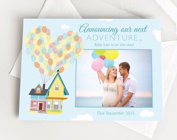 Disney UP Pregnancy Baby or Birth Announcement Our by TheInkedLeaf