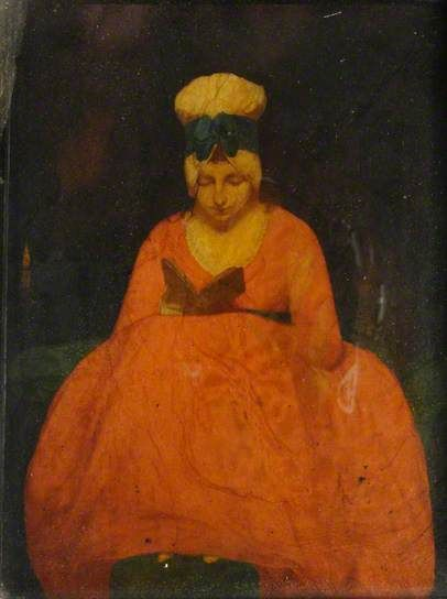 A Young Woman in a Red Dress, Reading  by British School, 1800