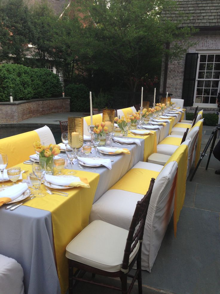 Beautiful yellow tablescape.