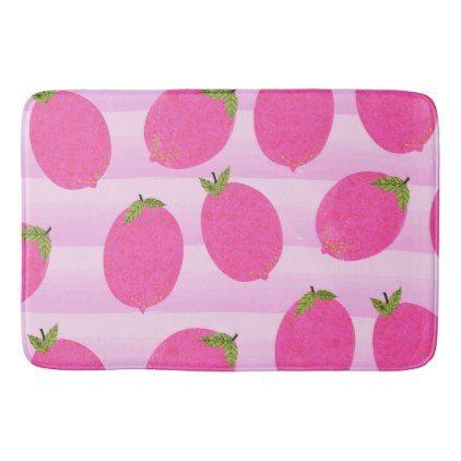 Pink Lemons Lemonade Summer Fruit Bright Fun Chic Bath Mat - rustic gifts ideas customize personalize