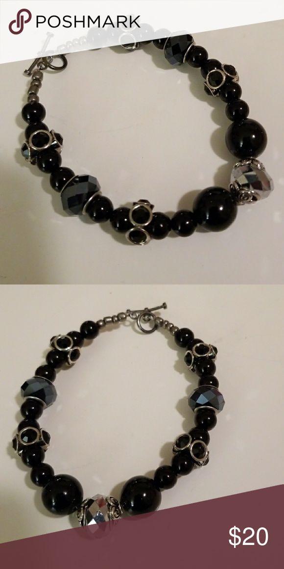 "Handmade Bracelet Black and Silver tone bracelet, handmade, approx. 8 1/2"" perfect for plus size wrists. Jewelry Bracelets"
