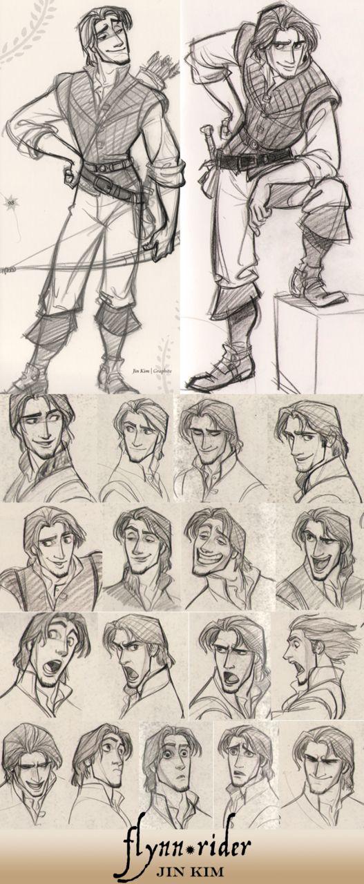 フリン(ユージーン)の表情集 : 「塔の上のラプンツェル」キャラクターデザイン。初期のラフや原案イラストをまとめました。 - NAVER まとめ