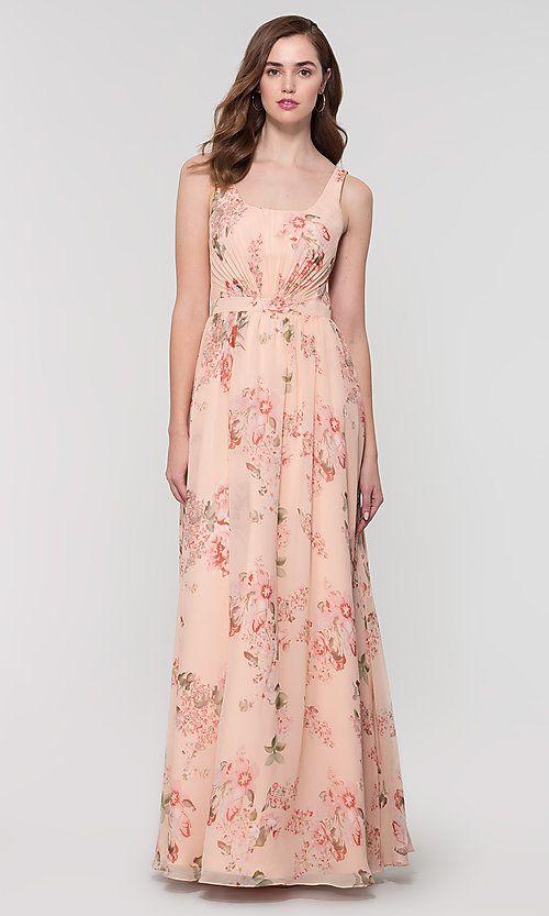 4944c4b22 Image of long chiffon floral-print Kleinfeld bridesmaid dress. Style   KL-200155 Front Image