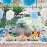 Ideas para baby shower moderno en blanco y celeste | Manualidades para Baby Shower