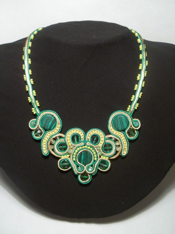 Soutache Jewelry Necklace With Malachite by DesignByNataly