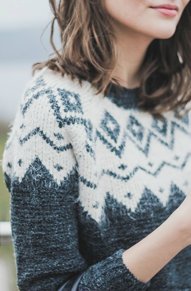 white + grey wool sweater