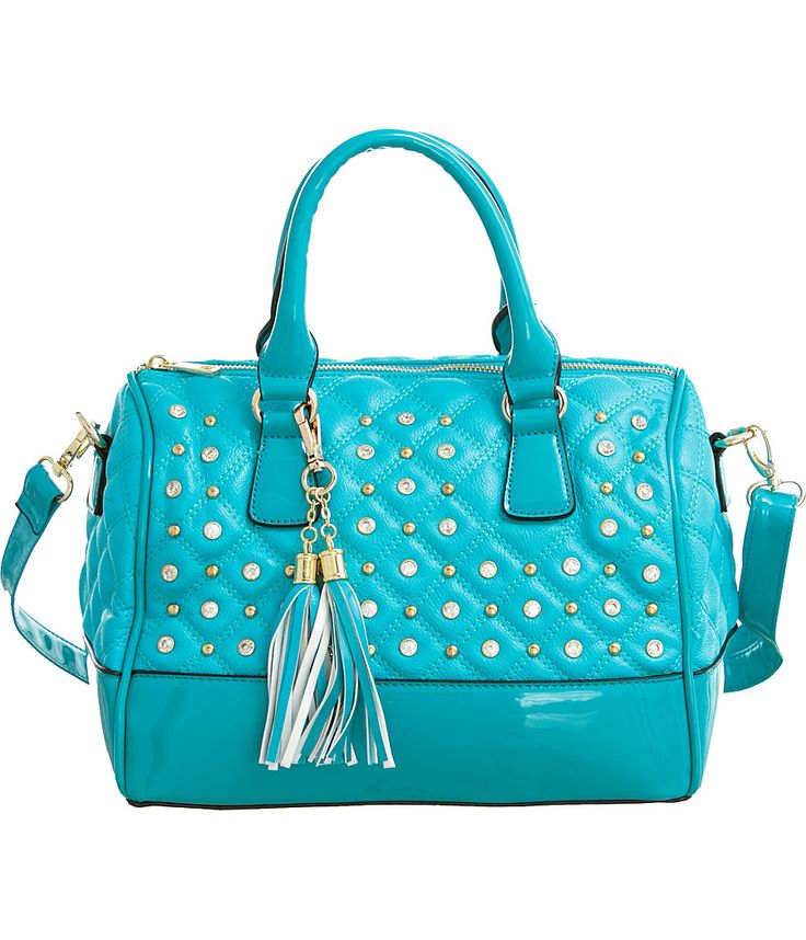 """Purse Boutique: Turquoise Blue """"Glossy Trim"""" Structured Crossbody Satchel Handbag with Bling, Purses"""