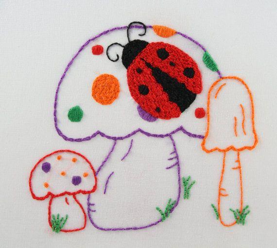 Marienkäfer-Stickerei-Muster Mushroom Design-Handstickmuster