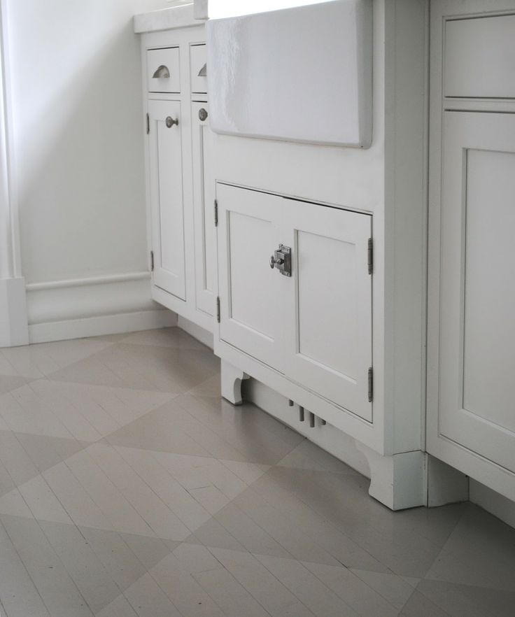 Amazing Painted Kitchen Floor Ideas Part - 14: Wood Floor Painted In Grey Tone-on-tone Check Via Http://