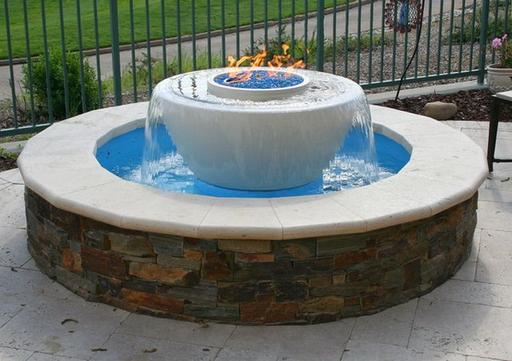 beautiful traditional outdoor patio water feature with gas fire pit ideas water features. Black Bedroom Furniture Sets. Home Design Ideas