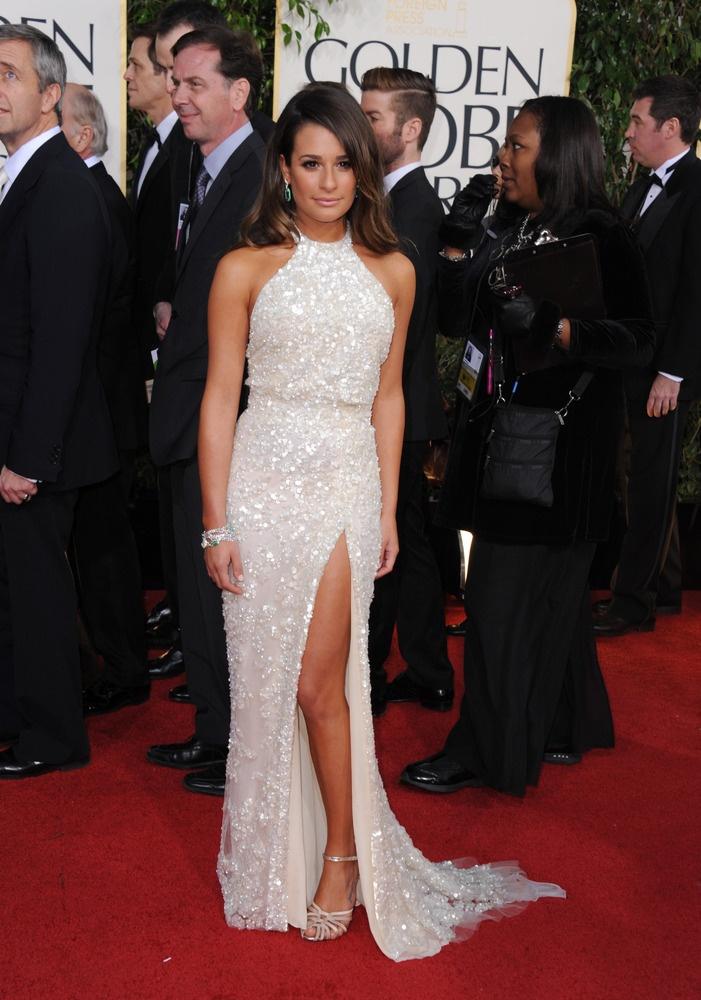Lea Michele in Elie Saab. Golden Globes 2013