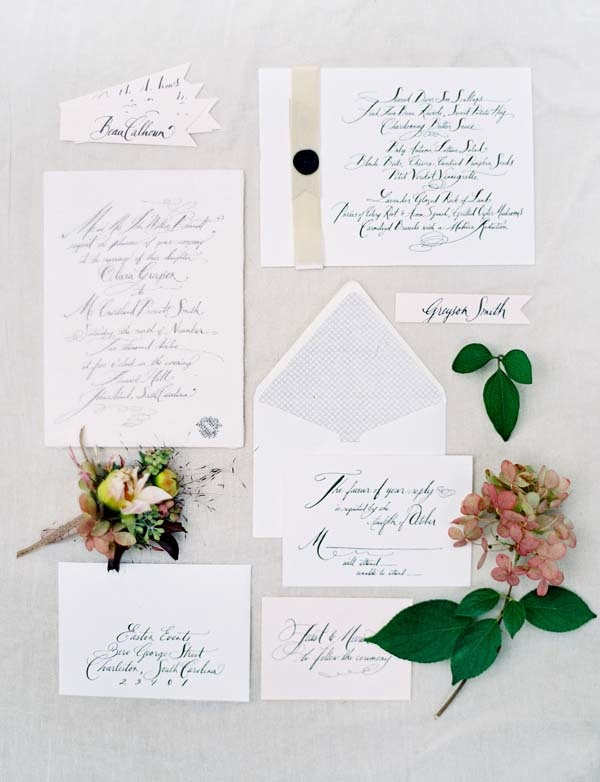 Invitation Suite by Sideshow Press and Calligraphy by Tara Jones, Easton Events at Fenwick Hall in Charleston, Photography by @jose villa